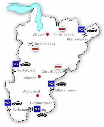 Alpenpässe Karte.Passübergänge In Uri 575